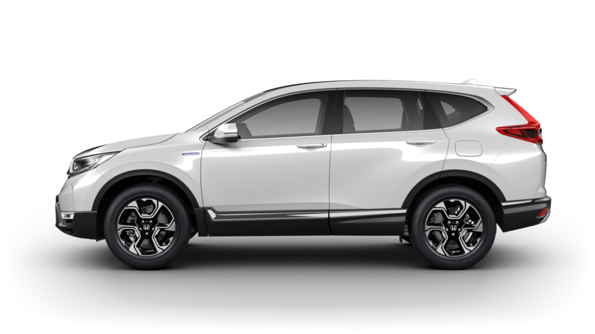 Vista laterale Honda CR-V Hybrid di colore Platinum White Pearl.