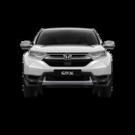 Vista frontale dell'Honda CR-V Hybrid bianco.