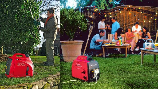 2 generatori portatili Honda utilizzati da un operatore in giardino.