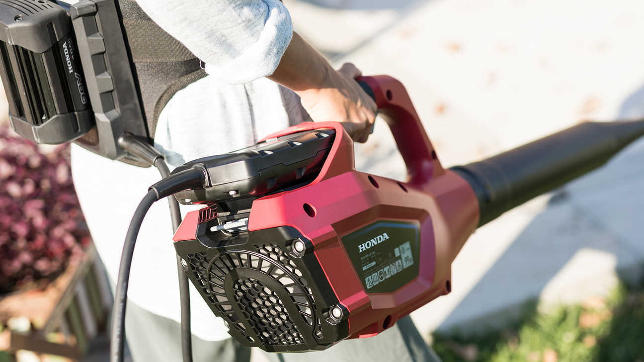 Close up of Honda cordless leafblower.