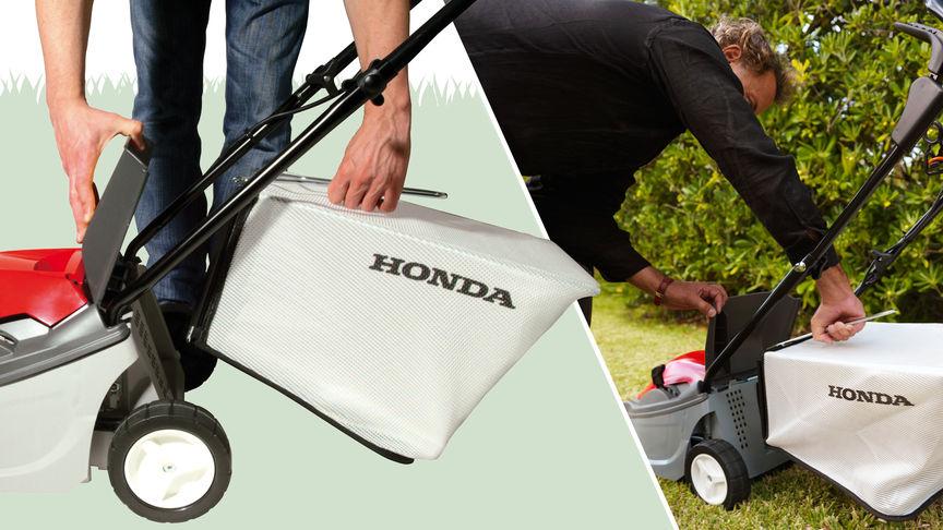 Rasaerba Honda HRE, dettaglio del sacco raccoglierba, rivolto a sinistra, luogo di utilizzo: giardino.