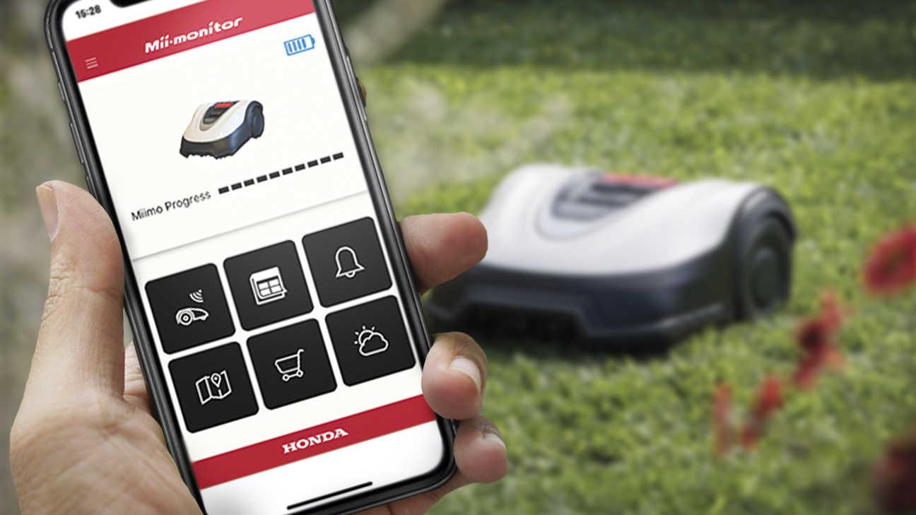 Visualizzazione dell'app per smartphone che controlla un Honda Miimo.