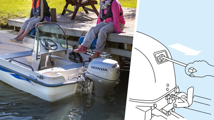 A sinistra: barca con motore Honda, ormeggiata. A destra: illustrazione del sistema di decompressione.
