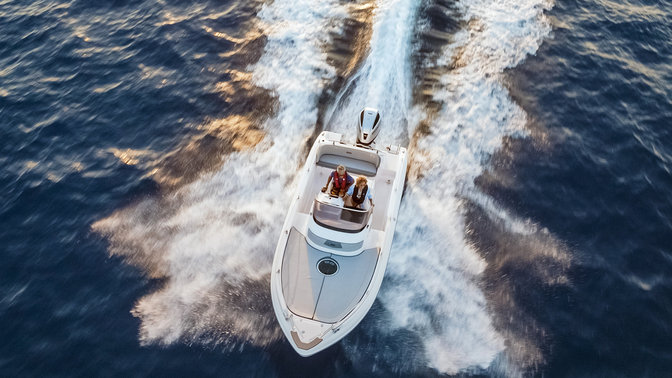 Birdseye view of boat with Honda marine engine.