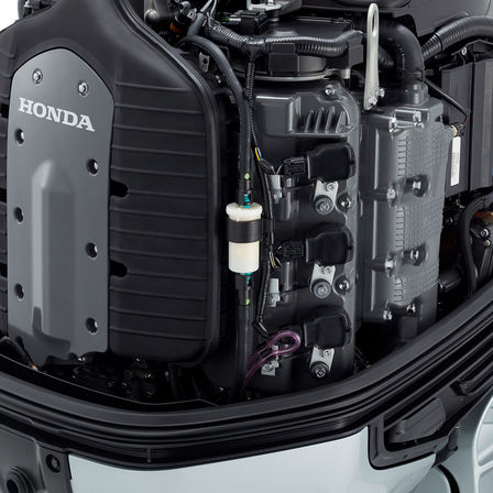 Close up of Honda marine engine.
