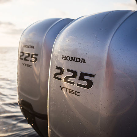 Close up of 2x Honda marine engines.