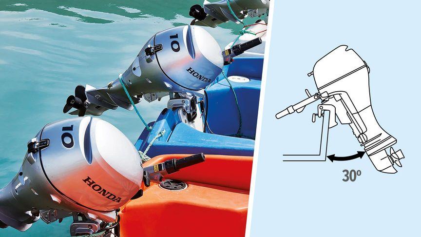 A sinistra: barca con motore Honda, località costiera. A destra: illustrazione del sistema di inclinazione a 5 fasi.