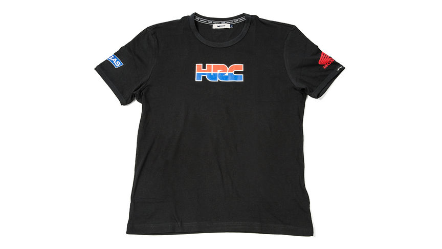 T-shirt nera con il logo Honda Racing Corporation.