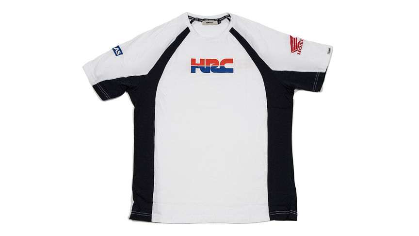 T-shirt bianca e nera con il logo Honda Racing Corporation