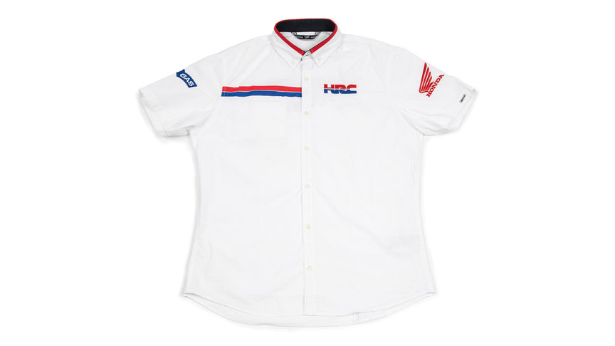 Camicia bianca con il logo Honda Racing Corporation.