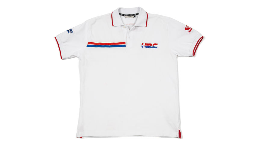 Polo bianca con il logo Honda Racing Corporation