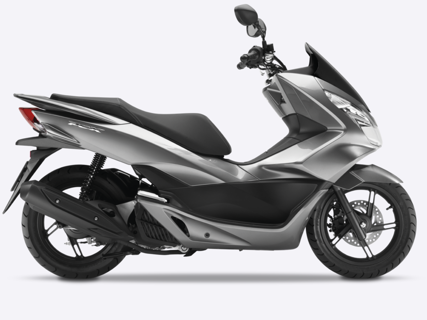 Honda-PCX150-Ripresa in studio-Moondust Silver Metallic-Vista laterale