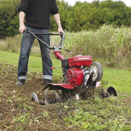 Motozappa compatta, utilizzata da un operatore, luogo di utilizzo: giardino.