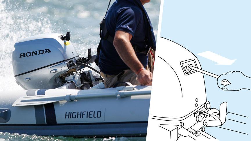 A sinistra: barca con motore BF10 utilizzata da un modello, località costiera. A destra: illustrazione del sistema di decompressione.